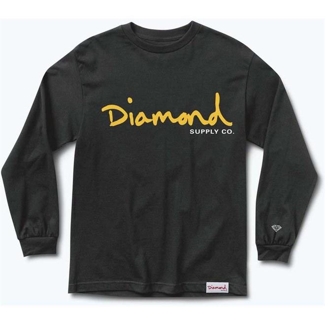 triko DIAMOND - Og Script Fall 17 Ls Tee Black (BLK)