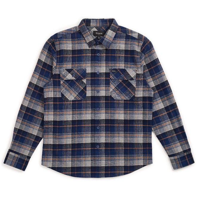 košile BRIXTON - Bowery L/S Flannel Blue Night (BLUNI)