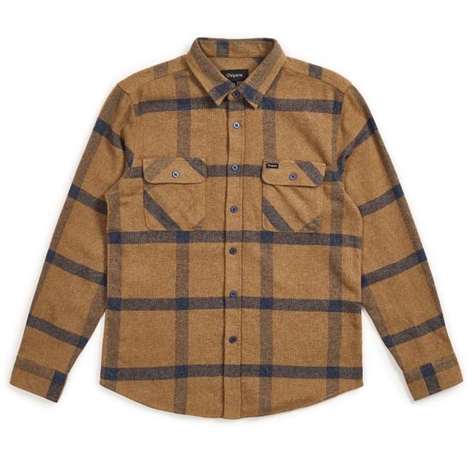 košile BRIXTON - Bowery L/S Flannel Gold/Navy (GLNAV)