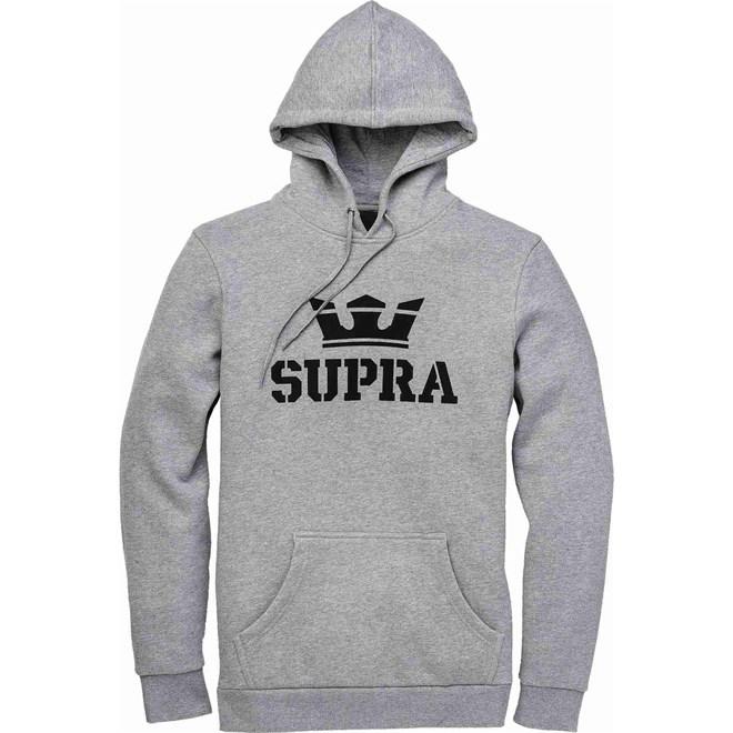 mikina SUPRA - Above Pullover Hood Grey Heather-Blk-Blk (087)