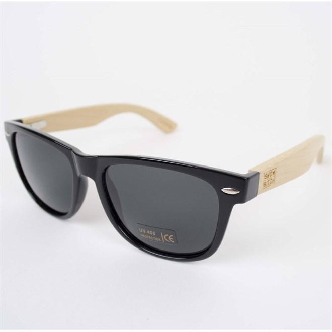 sluneční brýle SNOWBITCH - Black frame bamboo arms with Smoke lens 16 (BLACK)