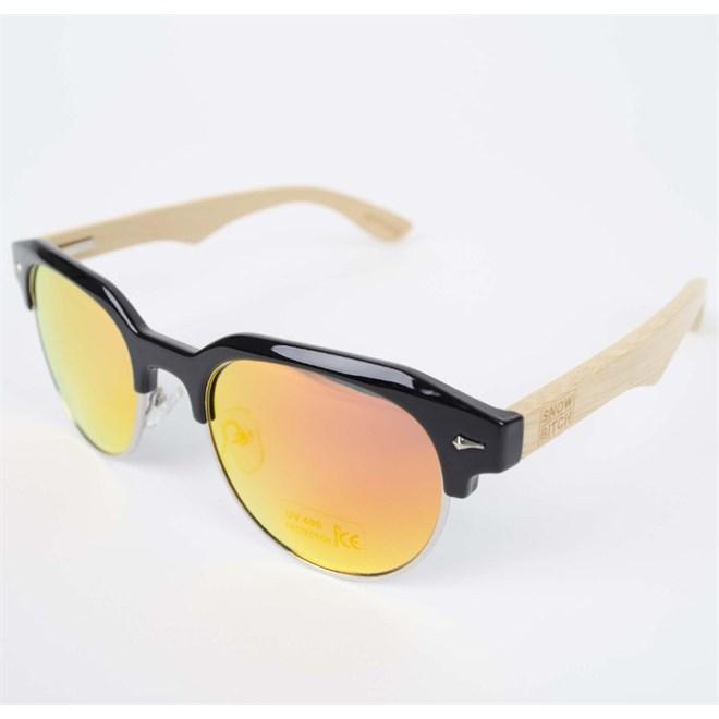 sluneční brýle SNOWBITCH - Black frame bamboo arms with Red lens 23 (BLACK)
