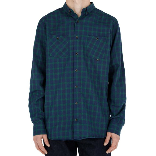 košile REELL - Faded Shirt AW18 Green/Navy (GREEN-NAVY)