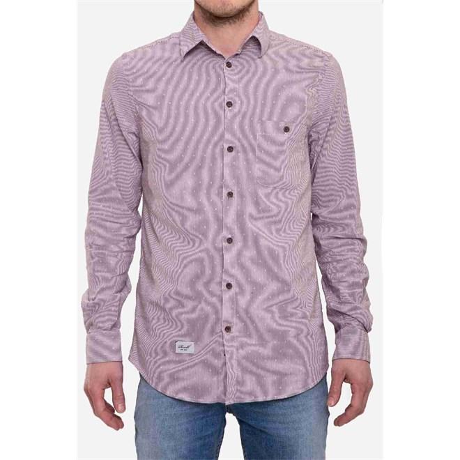košile REELL - Pinstripe Shirt Burgundy (BURGY)