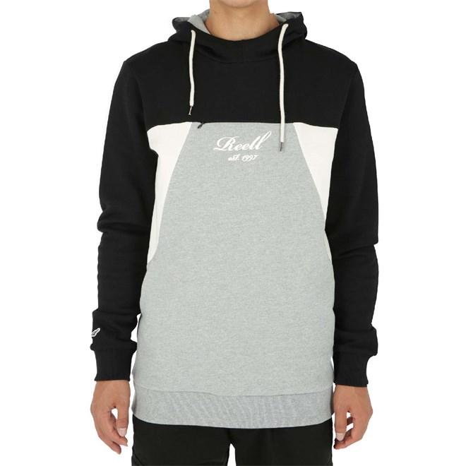 Sweatshirt REELL - Color Block Hoodie Black/Grey-Mel./Cream (BLACK-GREY-MEL.-CREA)