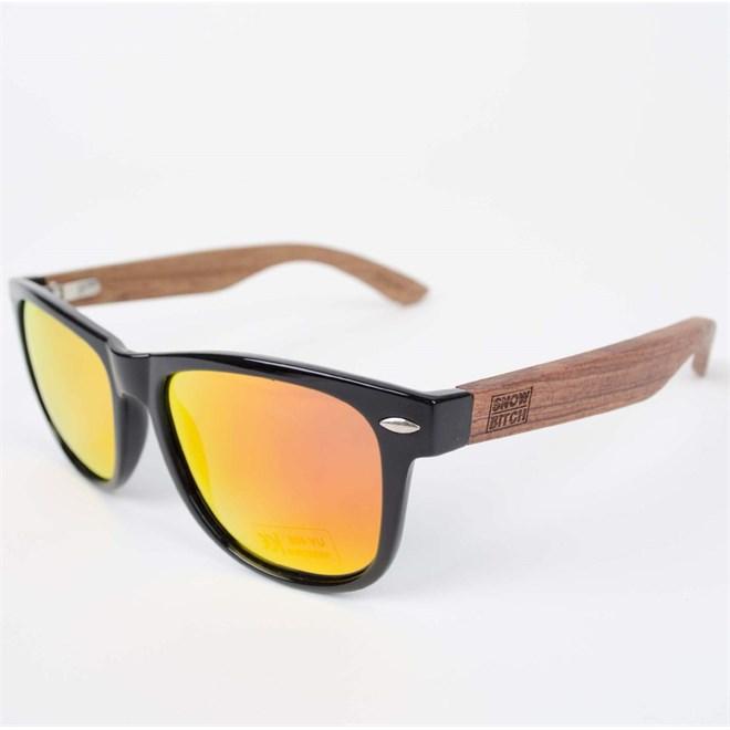 slnečné okuliare SNOWBITCH - Black frame Rose wood arms with Red lens 3 (BLACK)