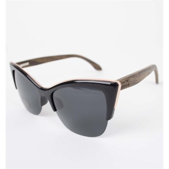 sluneční brýle SNOWBITCH - Black frame Ebony wood arms with Smoke lens 12 (BLACK)