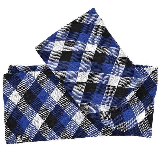 šála K1X - Check Scarf Black/White/Ultra Blue (0179)