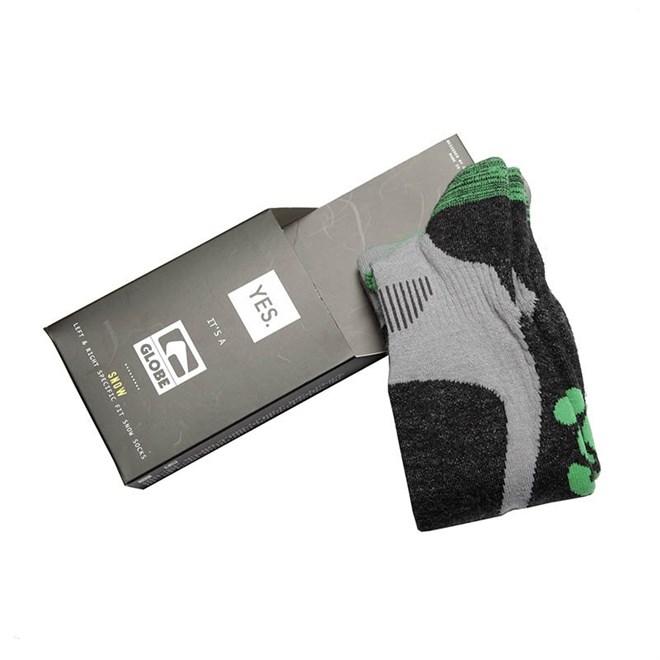 ponožky GLOBE - Yes/Globe Pow Pow Sock  Grey/Lime (GRYLIM)
