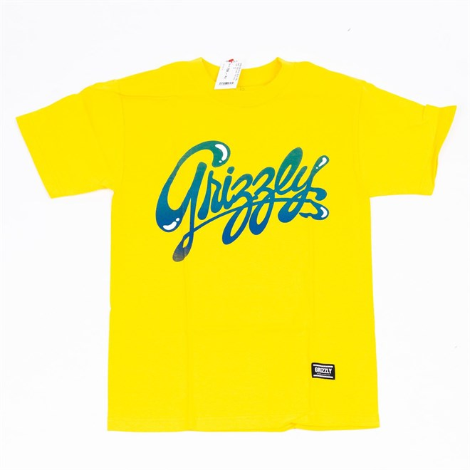 triko GRIZZLY - Wet Script Yellow (YELL)