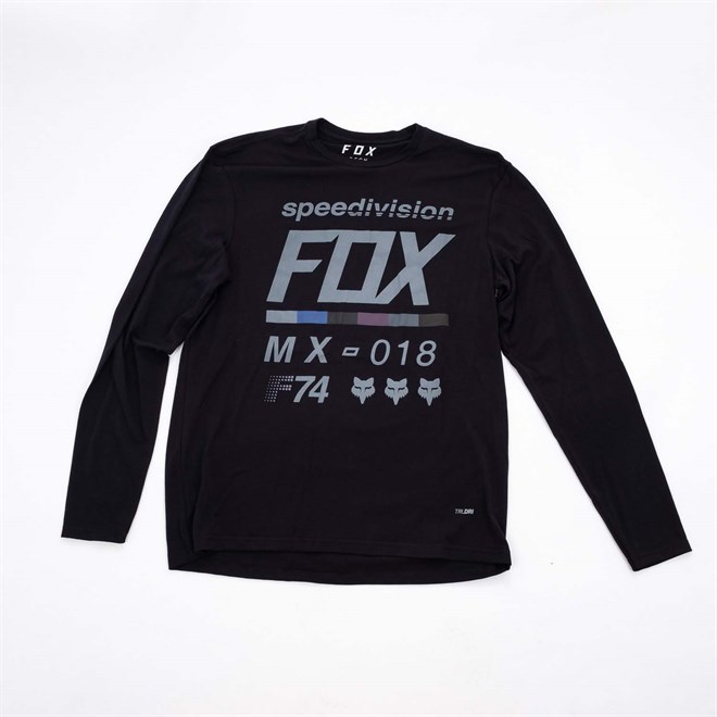 triko FOX - Draftr LS Tech Tee Black (001)