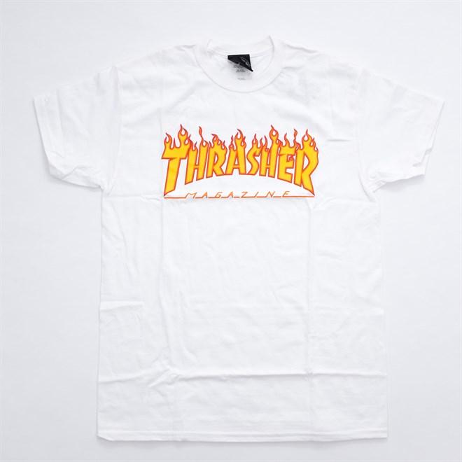 triko THRASHER - Flame Logo T-Shirt White (WHITE )