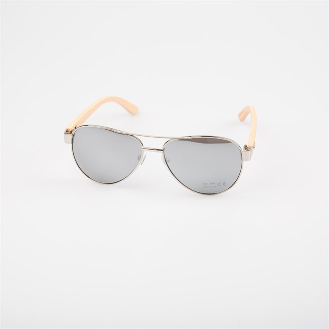 Sonnenbrille SNOWBITCH - silver frame and white mirror lens natural bamboo (SILVER)