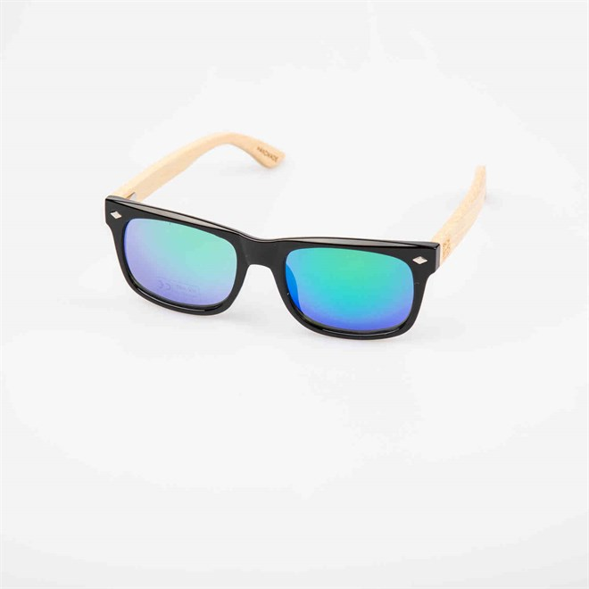 Sonnenbrille SNOWBITCH - black frame and green mirror lens natural bamboo (BLACK)