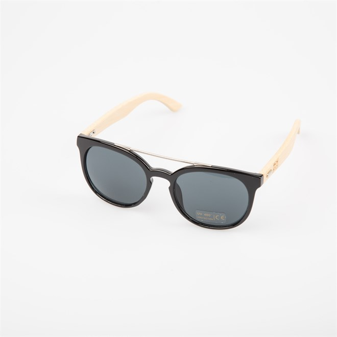 Sonnenbrille SNOWBITCH - black frame and smoke lens natural bamboo (BLACK)