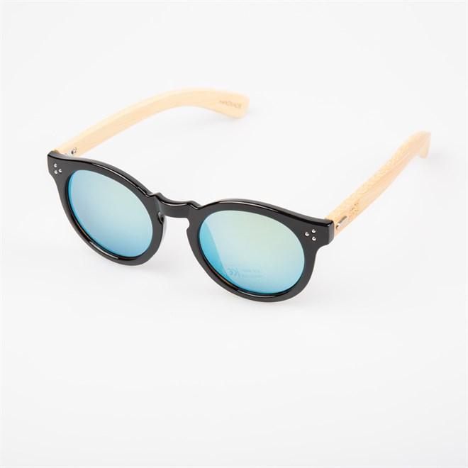 sluneční brýle SNOWBITCH - black frame and gold mirror lens natural bamboo (BLACK)
