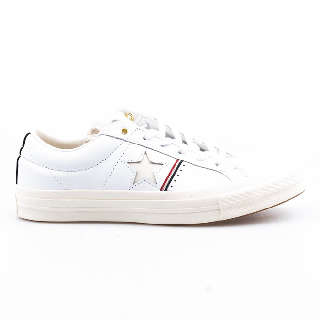 boty CONVERSE - One Star White/Enamel Red/Egret (WHITE-ENAMEL RED-EGR)