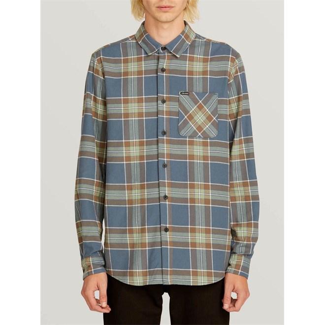 košile VOLCOM - Caden Plaid L/S  Indigo (IND)