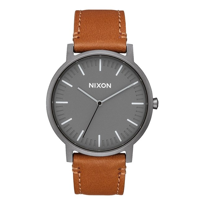 hodinky NIXON - Porter Leather Gunmetal Charcoal Taupe (2494)