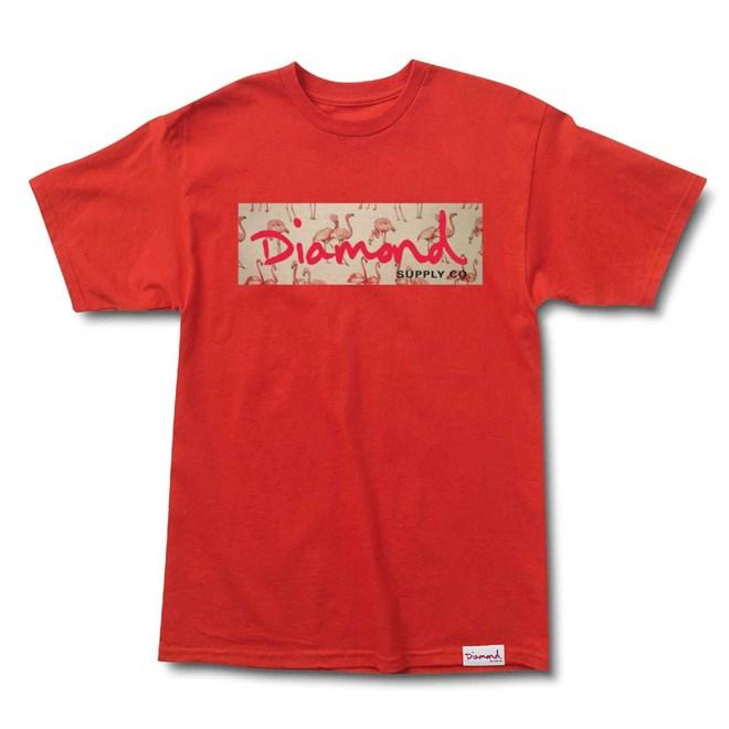triko DIAMOND - Flamingo Box Logo Tee Red (RED)