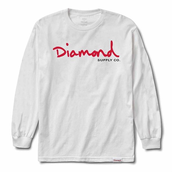 triko DIAMOND - Og Script L/S Tee Sp18 White (WHT)