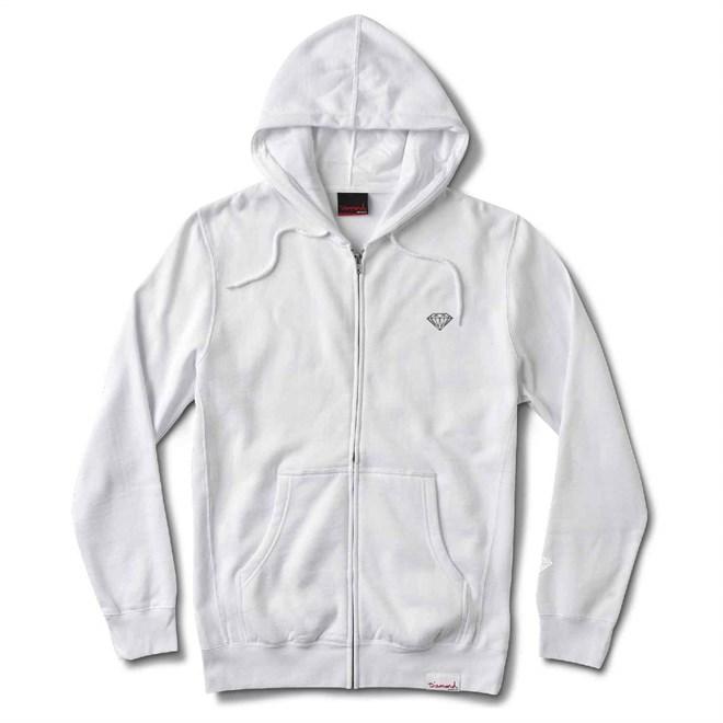 mikina DIAMOND - Micro Brilliant Zip Hoodie White (WHT)