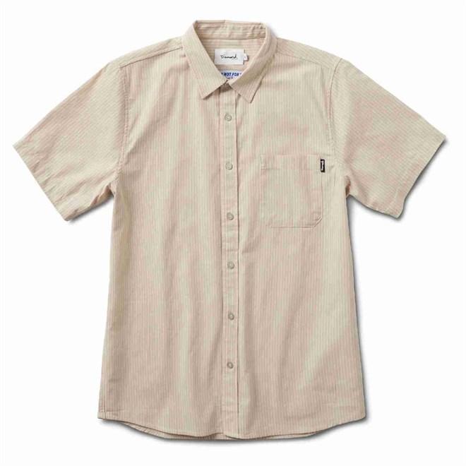 košile DIAMOND - Striped S/S Woven Tan (TAN)