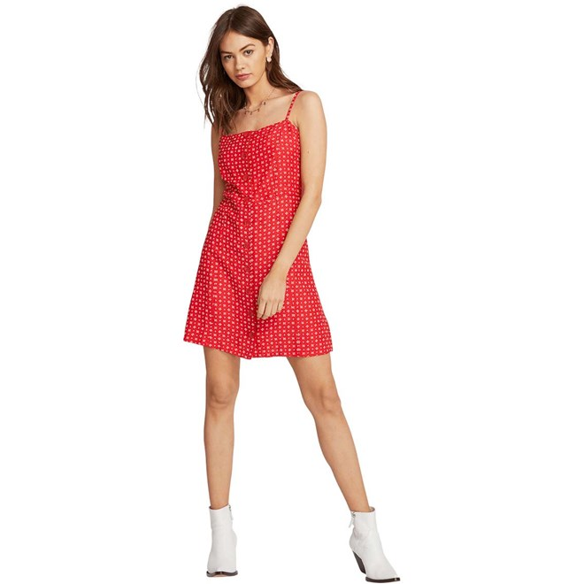 šaty VOLCOM - Salt And Sun Dress Red (RED)