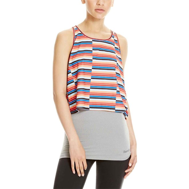 tílko BENCH - Double Layer Top With Aop Mid Grey Marl (GY008X)
