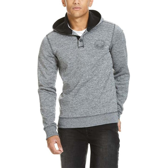 mikina BENCH - Bonded Waffle Hoodie With Placket Total Eclipse (NY031)