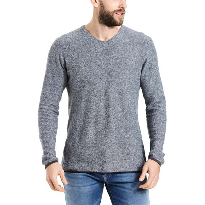svetr BENCH - Structured V Neck Dark Navy Blue (NY031)
