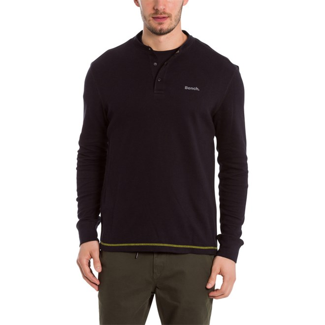 triko BENCH - Henley Longsleeve Black Beauty (BK11179)
