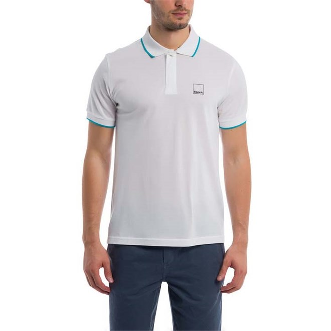 triko BENCH - Polo With Y/D Stripes Bright White (WH11185)