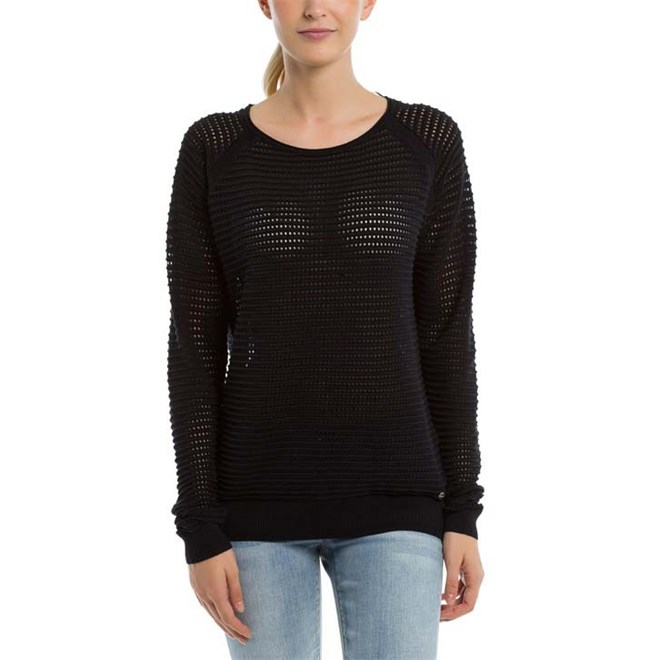 mikina BENCH - Knitted Mesh Crew Black Beauty (BK11179)
