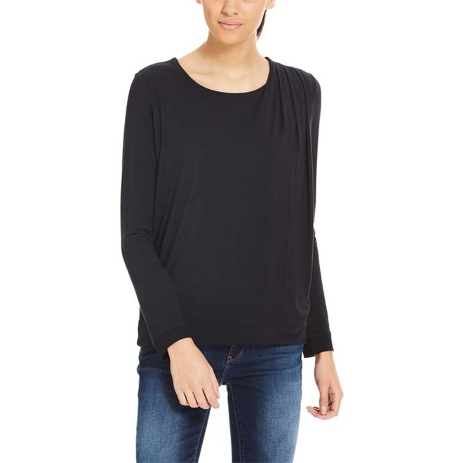 triko BENCH - Drape Pleat Longsleeve Black Beauty (BK11179)