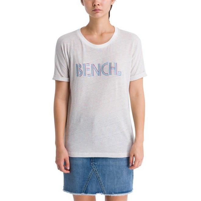triko BENCH - Logo Tee Stripes Snow White + Metallic Stripe (P1281)