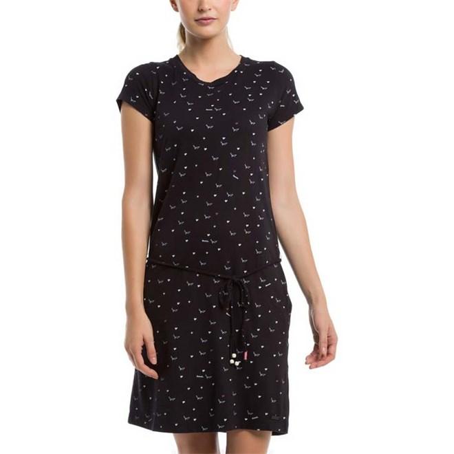 šaty BENCH - Printed Jersey Dress Bird & Heart Minimal With Pop. (P1463)