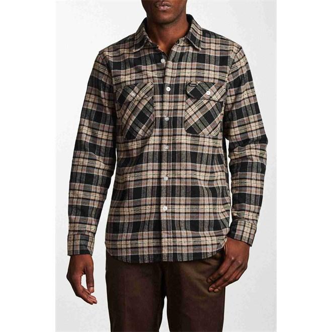 košile BRIXTON - Bowery L/S Flannel Black/Grey (BKGRY)