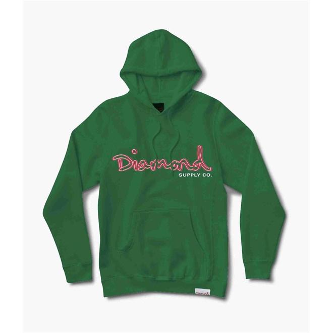 mikina DIAMOND - Neon Og Script Hoodie Forest Green (FTGR)