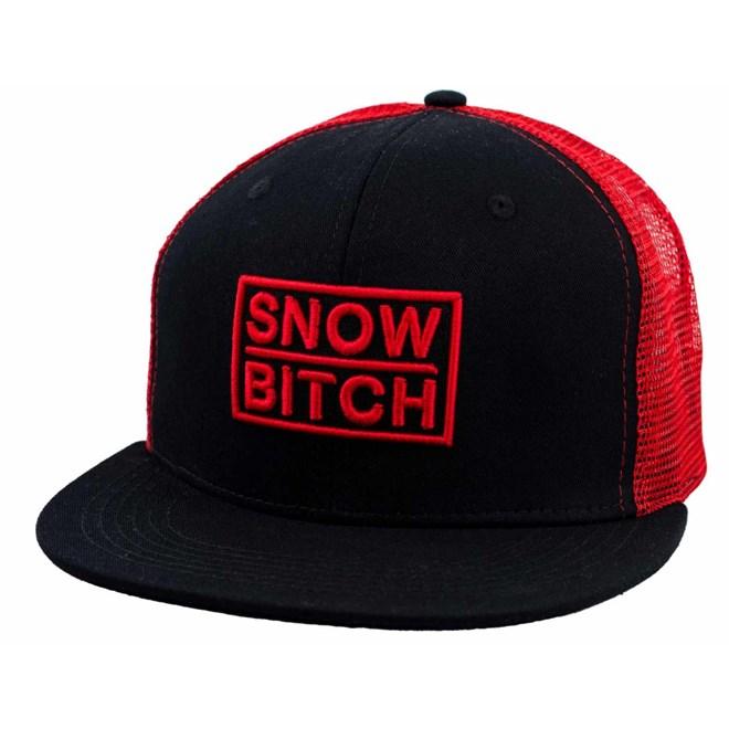 czapka z daszkiem SNOWBITCH - Černá sčerveným – trucker  (BLACK-RED)
