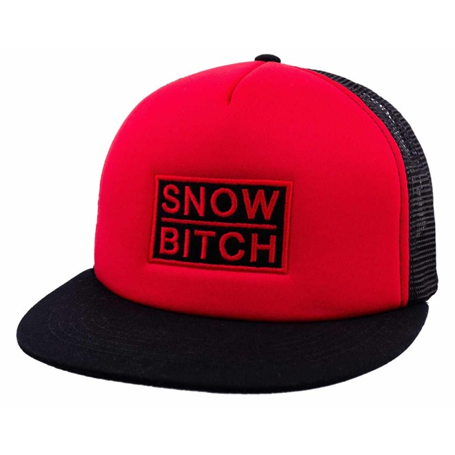 kšiltovka SNOWBITCH - Červenočerný trucker – logo, červený nápis  (RED-BLACK)