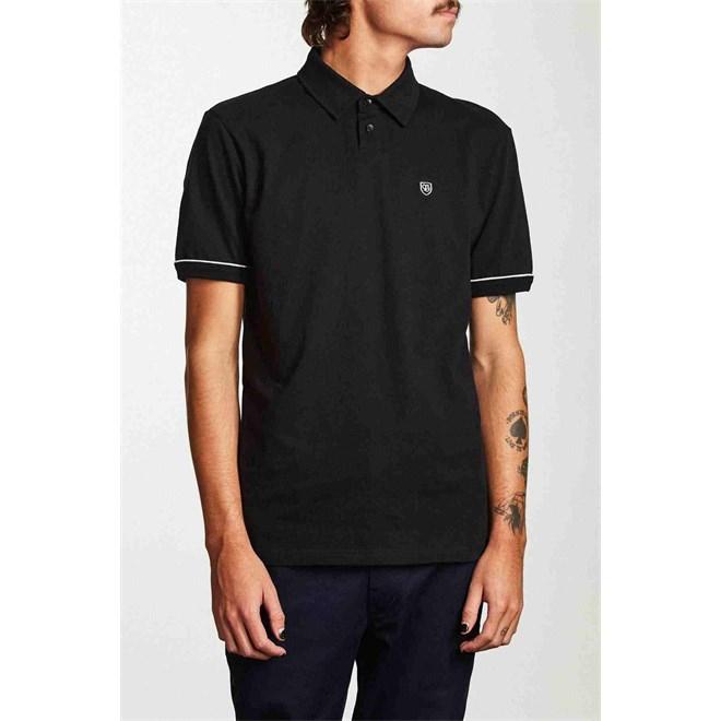 triko BRIXTON - Carlos S/S Polo Knit Black (BLACK)