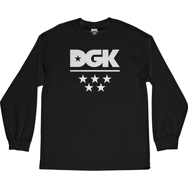 triko DGK - All Star L/S Tee Black (BLACK)