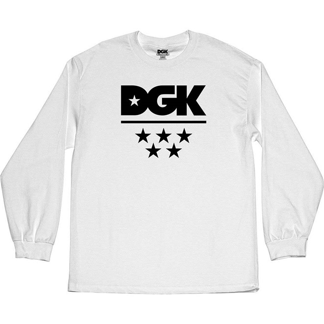triko DGK - All Star L/S Tee White (WHITE)