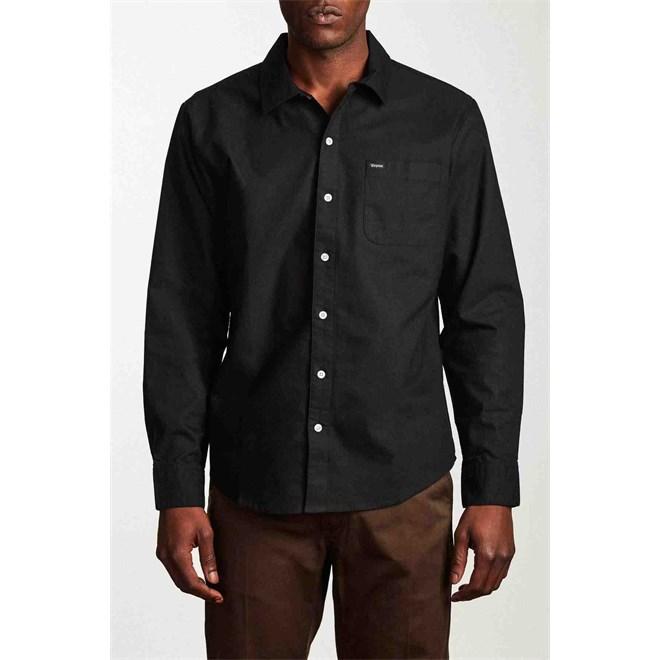 košile BRIXTON - Charter Oxford L/S Wvn Black (BLACK)