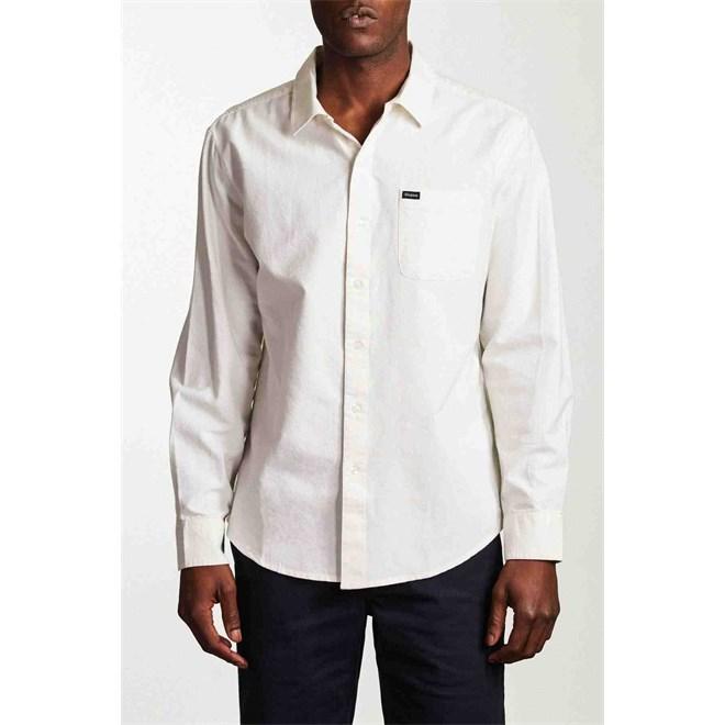 košile BRIXTON - Charter Oxford L/S Wvn Off White (OFFWH)