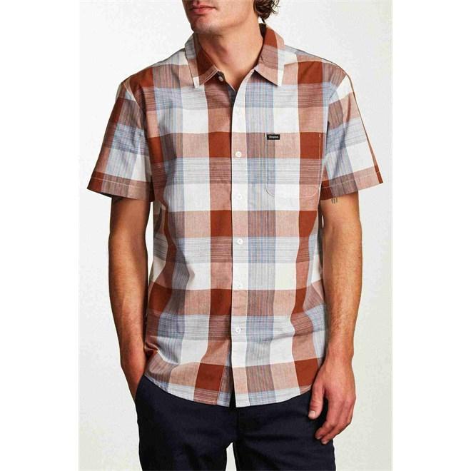 košile BRIXTON - Charter S/S Wvn Brown/Cream (BRCRM)