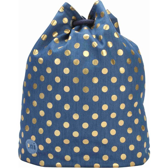 gymsack MI-PAC - Swing Bag Denim Polka Indigo/Gold (007)