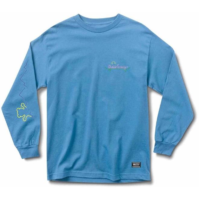 triko GRIZZLY - Stay Lit L/S Tee Pacific Blue (PBLU)