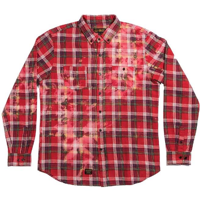 košile GRIZZLY - Carpenteria L/S Woven Light Red (LTRD)